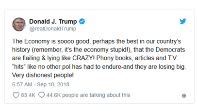 [Tweet: Trump How good things are in the economy]