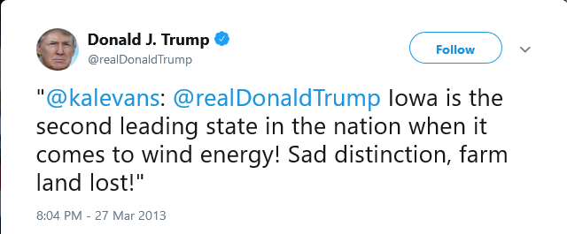 Alt:[Twitter Trump on Iowa Wind Power]