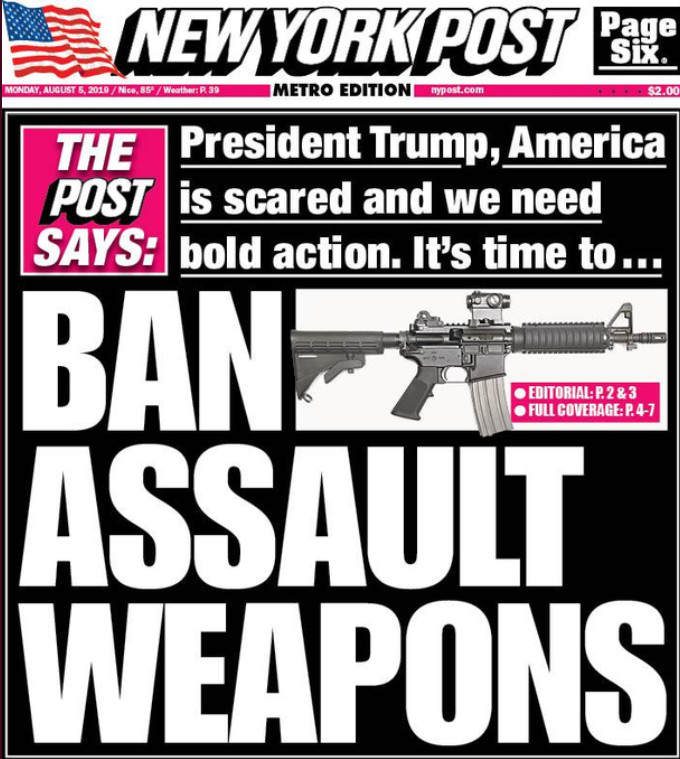 Alt:[Cover NY Post Stop Asult Weapons]