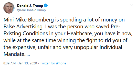 Alt: (Trump Tweet Calling Bloomberg Mini Mike)