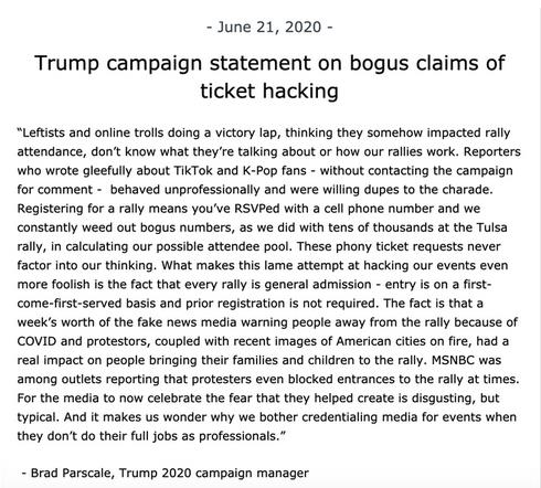 (Trump Caimpaign Statement Ticket Hacking)