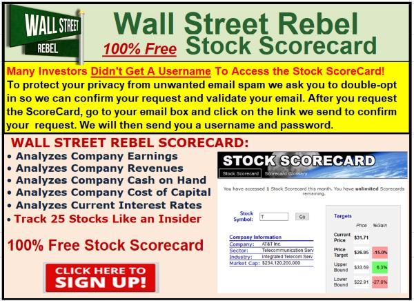 Wall Street Rebel Stock Scorecard: 100% Free [Click Here]